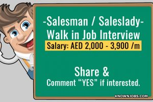 Walk in Job Interview for Salesman / Saleslady - Nov 08 2018